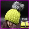 Мода Зима Женщин Реального Silver Fox Меховой Шарик Шапки Зимние Толстая Вязаная Шапка Натуральный Мех Лисы Pom Poms Hat