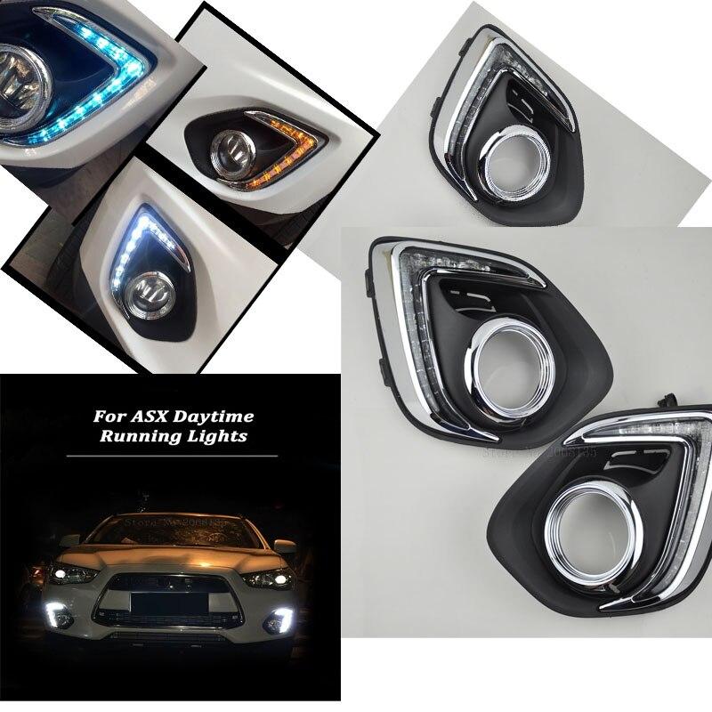 High quality For Mitsubishi ASX DRL LED Daytime Running Lights 2013~2014 White yellow turning to night <font><b>Blu-ray</b></font>