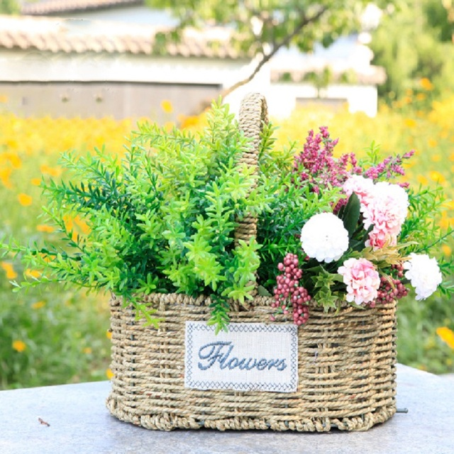 WHISM Hand Made Wicker Flower Pot Seagr Rattan Flower Basket ... on home depot planters, vintage planters, white watering can planters, stone planters, black planters, mahogany planters, cache pots and planters, granite planters, wicker looking planters, willow planters, large square planters, portable bag planters,