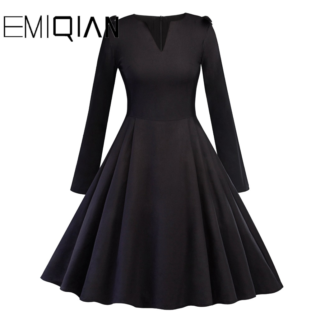 US $19.72 32% OFF Vintage Long Sleeve A line V Neck Knee Length Party Dress  Plus Size Black Short Prom Dress-in Prom Dresses from Weddings & Events on  ...