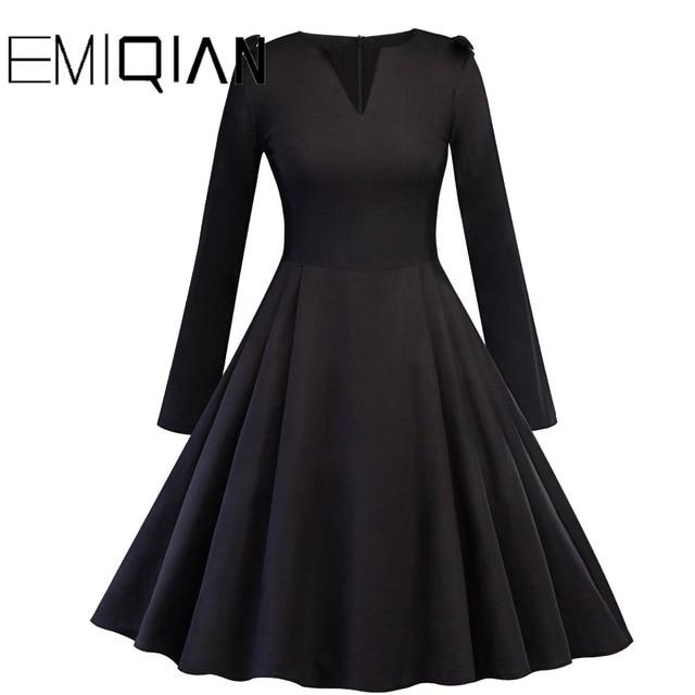 Vintage Long Sleeve A line V Neck Knee Length Party Dress Plus Size ...