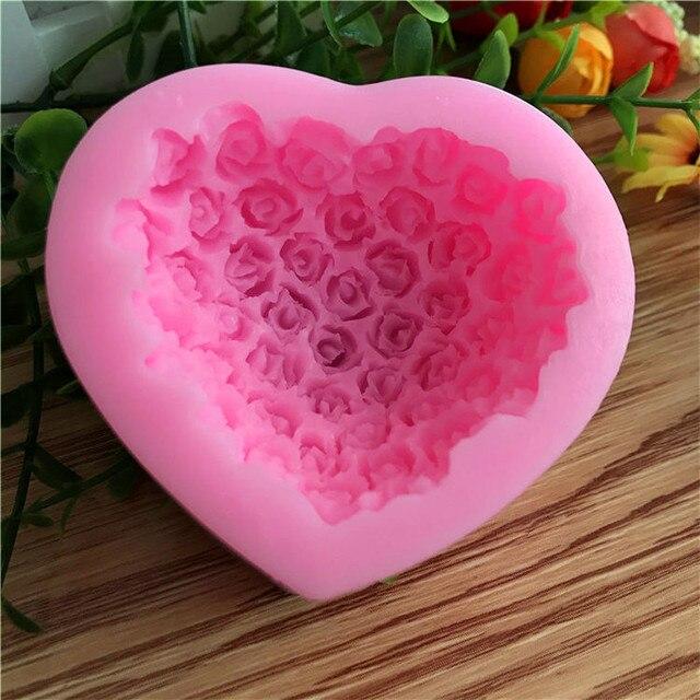 Loving Heart Shape Valentine\'s Creative Cake Mold 3D Rose Flower ...
