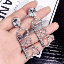 Trendy full Rhinestone letter GIRLS earrings Fashion nightclub woman earring