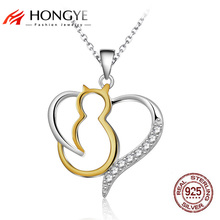 HONGYE 2017 Vintage 925 Sterling Silver Necklace Jewelry Animal Gold Cat Pet Pendant Open Lovely Heart Necklaces For Women Gifts