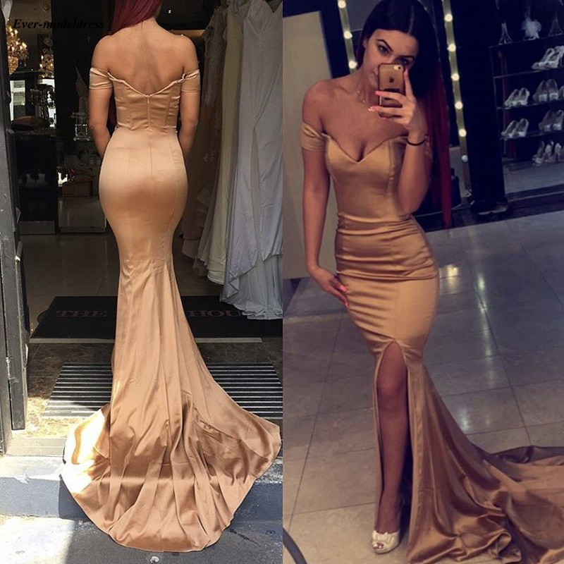 Simple Gold Mermaid Bridesmaid Dresses 2019 Off Shoulder Side Split Long Maid of Honor Dress Wedding Guest Party Gowns Cheap