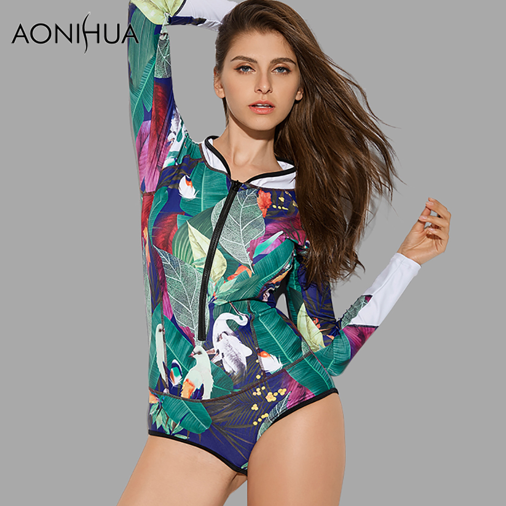 AONIHUA 2018 Design Art Printing Swimsuit Women Leaf Birds One Piece Swimwear female Pus ...