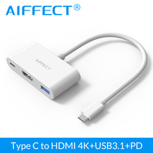 AIFFECT Type C USB 3.1 to USB HUB HDMI Female Charger Adapter Support 4K for Apple Macbook 12inch and Google Chromebook Pixel