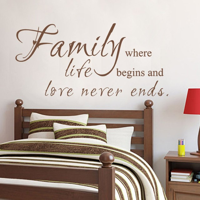 Family Where Life Begins Love Never Ends   Family Wall Decal Love Life  Sayings Home Decor