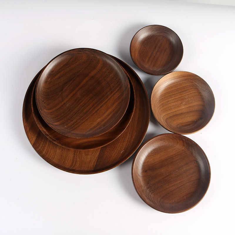 Japanese Round Solid Walnut Wood Pan Plate Fruit Dishes Saucer Tea Tray Dessert Dinner Bread Wood Plate
