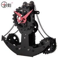 MIAO KE Hull Form Mechanical Gear Clock Creative Clock Good Quality Stainless Steel + PVC Mute Desk Clock Office Accessories