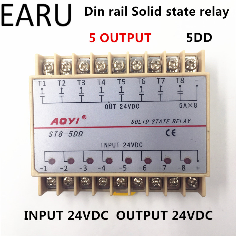Free Shipping 5DD 8 Channel Din Rail SSR Eight Input Output 24VDC Single Phase DC Solid State Relay 5A PLC Module Controller normally open single phase solid state relay ssr mgr 1 d48120 120a control dc ac 24 480v