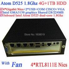 Трансфер мини-пк с атом Intel D525 1.8 ГГц 4 гигабитный сетевой брандмауэр материнская плата ITX 4-полосная вход и выход GPIO 4 г RAM 1 ТБ HDD