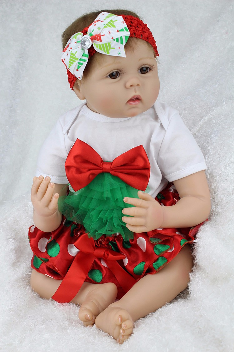 55cm Simulation Lifelike Silicone Vinyl Reborn Baby Boy Doll Toys Newbabies With Christmas Clothes Girl Brinquedos bebe Gift