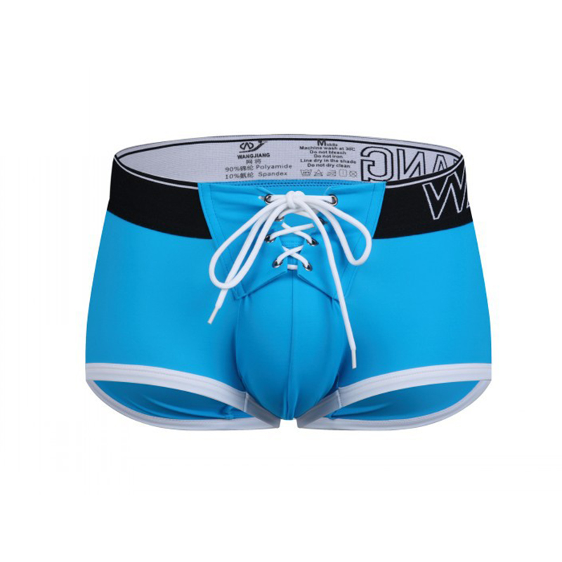 Sexy Beach   Board     Shorts   Mens Swimwear Gyms Boxer Drawstring U Convex Pouch   Shorts   Man Lace Up Boardshorts Bathing Trunks