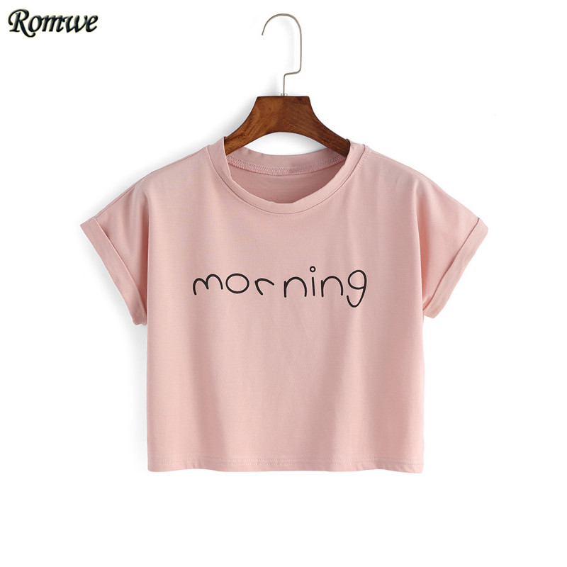 Aliexpress.com : Buy ROMWE Womens Crop Tops Letter Print T ...