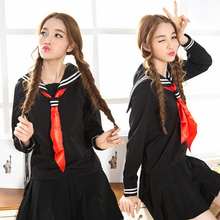 JK Cosplay Black japanese School uniform 2 white bar Sailor collar sailor shirt +skirt +Scarf