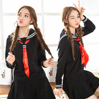 JK Cosplay Black japanese School uniform 2 white bar Sailor collar sailor uniform shirt +skirt +Scarf