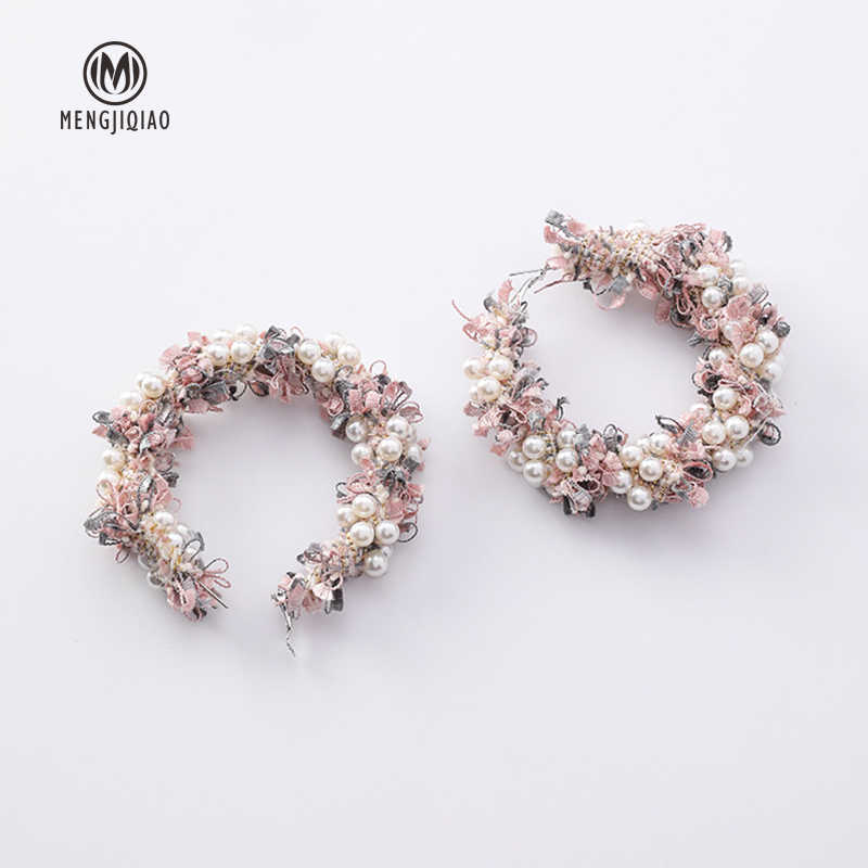 MENGJIQIAO 2018 Korean New Fashion Lace Wreath Big Circle Earrings For Women Handmade Simulated Pearl Statement Dangle Oorbellen