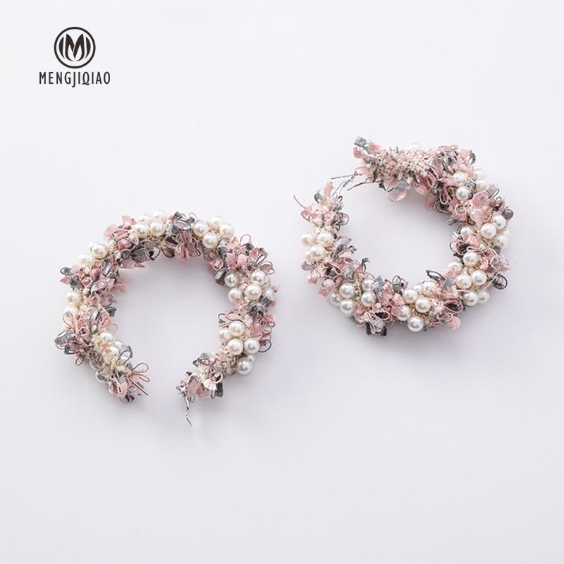 Lace Wreath Big Circle Handmade Earrings
