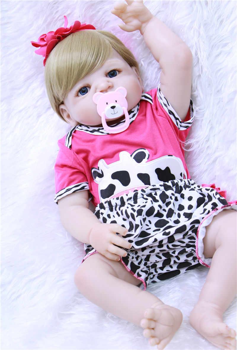 56 เซนติเมตร Bebe ตุ๊กตา Reborn ซิลิโคนสาวของเล่นตุ๊กตาเด็กทารก Reborn ตุ๊กตาของขวัญดูวัวสวยเสื้อผ้าสำหรับเด็กปัจจุบัน boneca