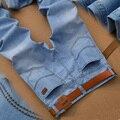 Sulee Marca de Jeans 2017 calças de Brim Dos Homens Marca de Moda Primavera Fina Luz do Desenhador dos homens Casuais Calças Jeans Fino Reta Normal Fit