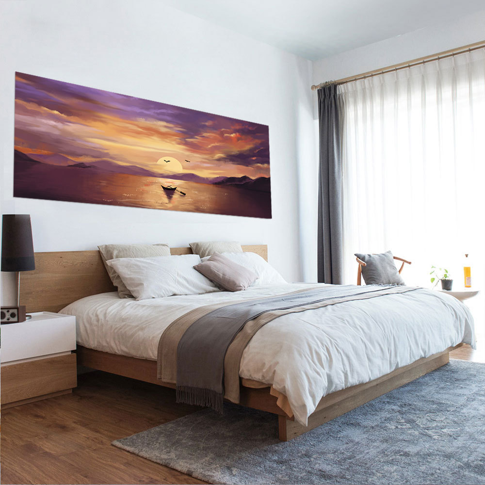 3D Sunset Boat Landscape Bed Head Stickers Wallpaper Bedroom Art Decal