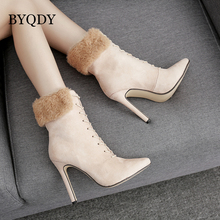 BYQDY Autumn Women High Heels Lacing Ankle Shoes Pointed Toe Female Fur Suede Boots Spring Ladies Party 2018 Plus Size 42