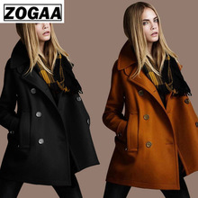 Fashion New style Autumn Loose Style Solid Wool Double-Breasted Outerwear Women Coats European Free shipping