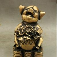 Folk China Bronze Wealth Coin Chinese Cabbage Cai Lucky Pig Statue Sculpture