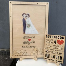 Wooden Wedding Guest Book Classic Elegant Drop Box With Hearts Mr&Mrs Alternative GuestBook