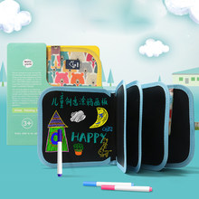 Portable Soft Chalk Board Drawing Book Animal Marine Life Coloring Book DIY Blackboard Painting Drawing Board with Chalk Toys(China)