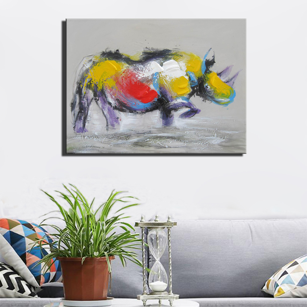 Abstract Rhinoceros Canvas Painting For Living Room Wall