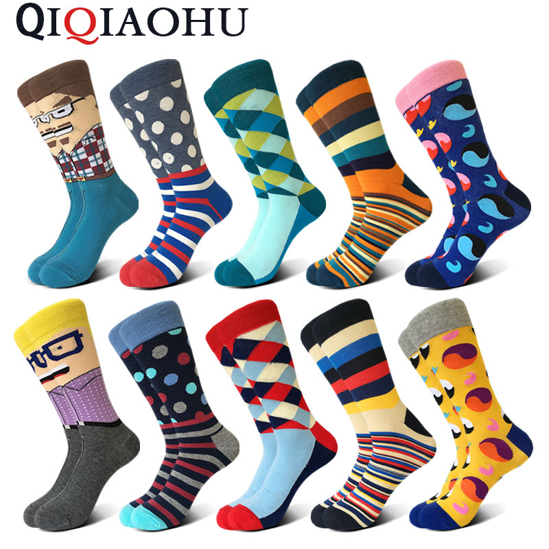 10 pairs/lot high quality personalised stockings mens funny colorful combed cotton socks glasses socks diamond happy socks