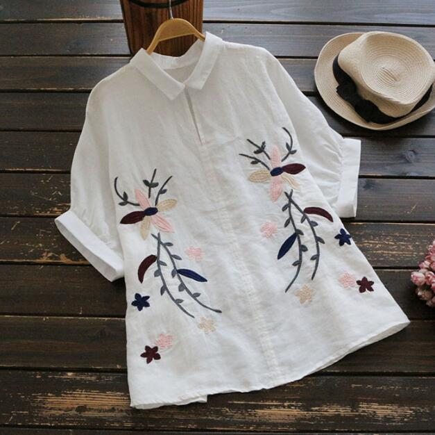 Viento nacional bordado ropa de manga corta camisa superior femenina mori chica