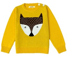 100% cotton knitting lovely spring&winter leisure unisex children boys&girls fox pattern kids round neck pullover