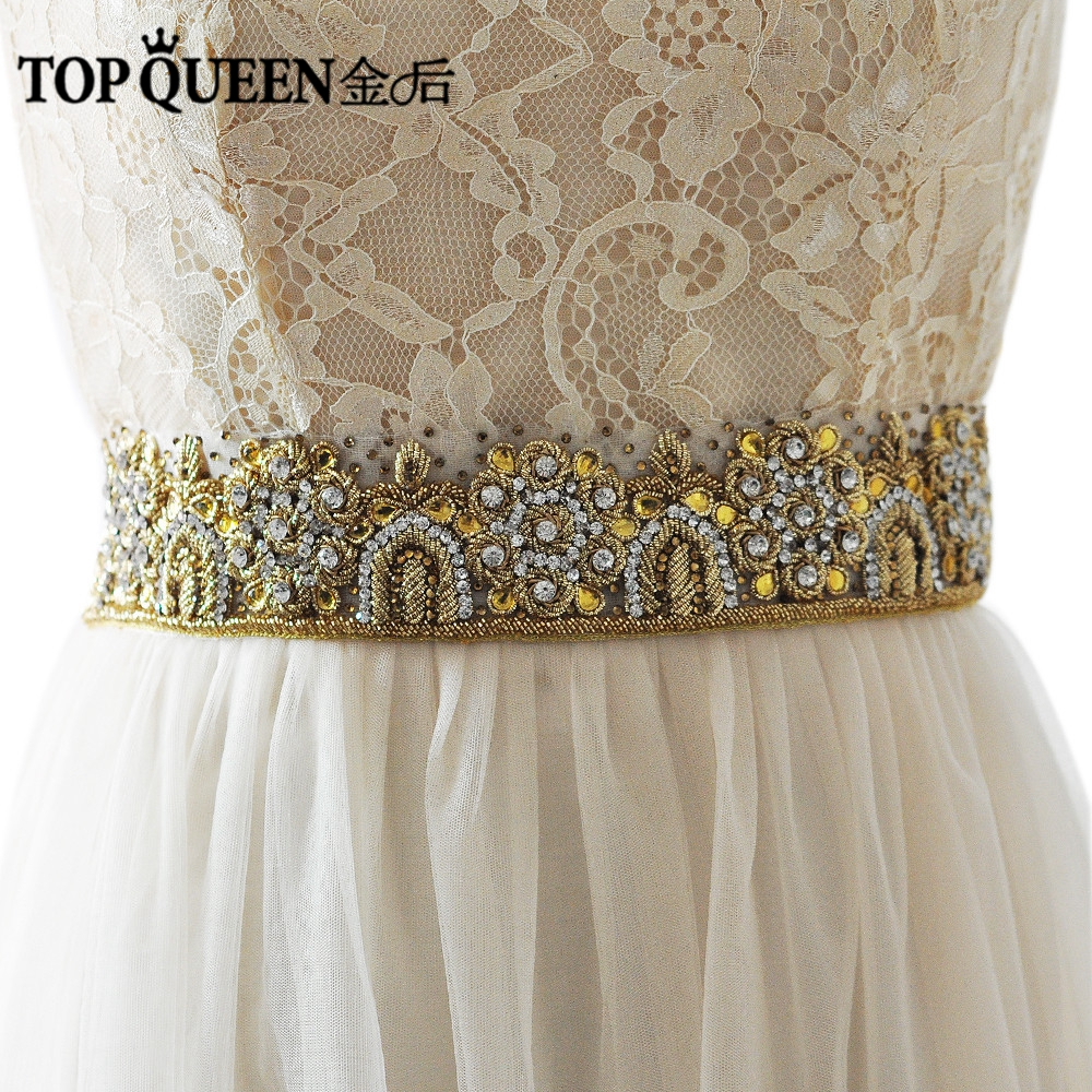 TOPQUEEN AS21 Royal Medal Craft Bride Evening Party Gown Dresses Accessories Wedding Sashes Belt Waistband Bridal