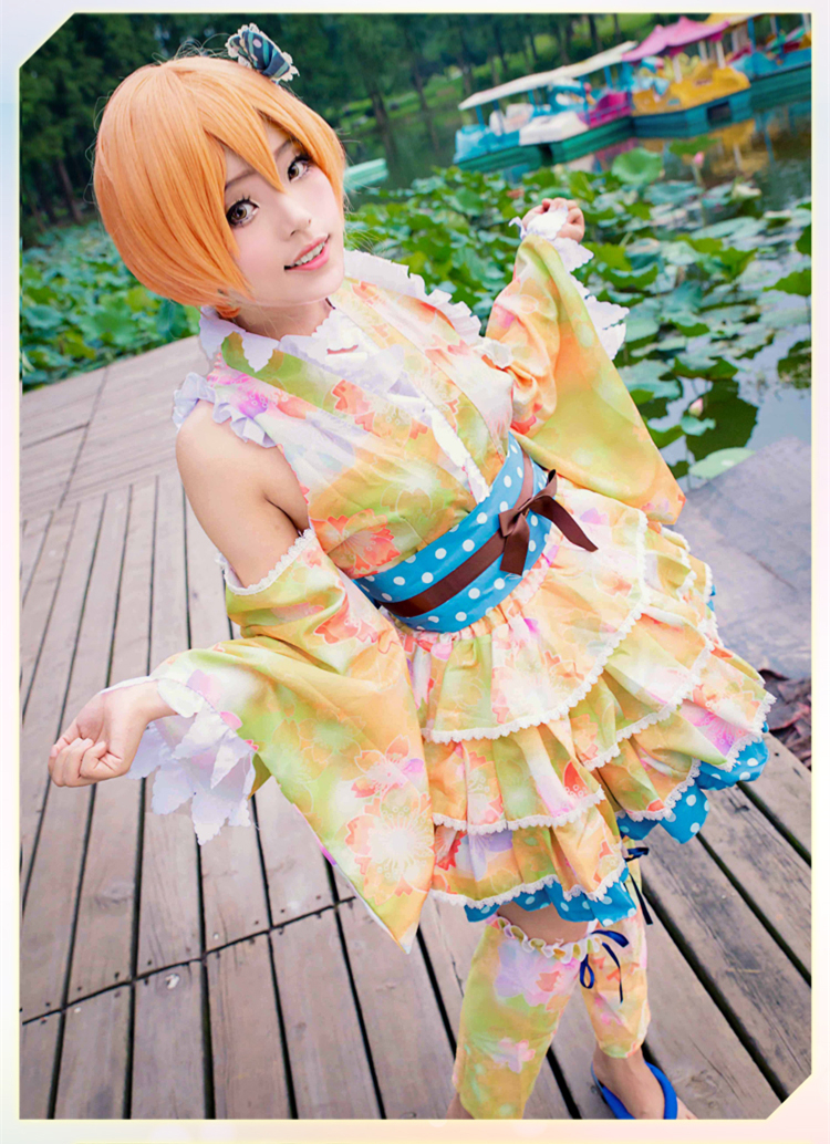 love live RIN HOSHIZORA Japanese kimono wafuku cosplay costume party dress Halloween uniform Free Shipping love island live 14 00 17 00