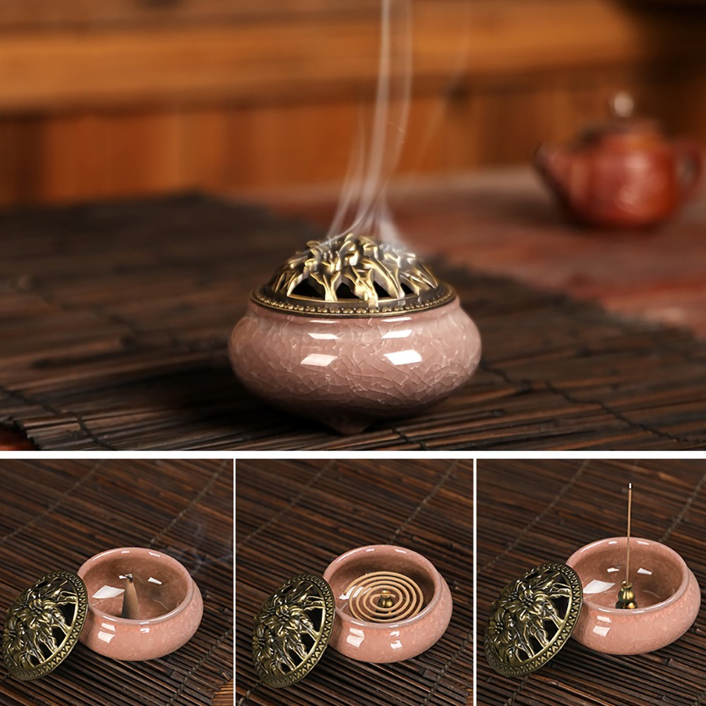 Alloy Copper Incense Holder Can Be Fixed Incense Sticks And Coil Incense Burner Censer High Incense Plug in Incense Incense Burners from Home Garden