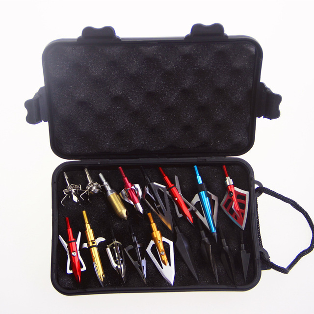 Archery Arrow Heads Case Plastic Tool Box Storage Arrowhead with Hand Strap for Carrying Hunting Archery Broadhead