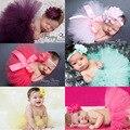 Newborn fotografia props traje infantil roupa bonito da princesa saia tutu de crochê feito à mão frisada cap cabeça do bebê vestido da menina