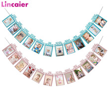 12 Months Photo Frame Banner 1st Happy Birthday Party Decorations First Baby Boy Girl My 1 One Year Supplies Blue Pink Silver