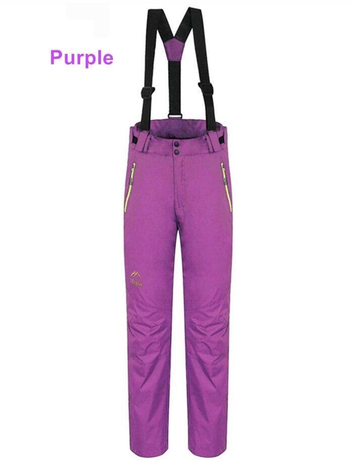 Sj-maurie pantalons de ski de neige sport femme pantalon de Snowboard bretelles détachables vêtements en molleton pantalon de Snowboard solide - 6