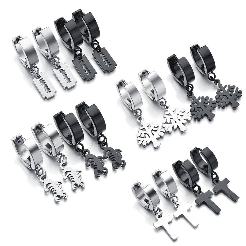 Punk Stainless Steel Circle Piercing Hoop Earrings For Men Women Hip Hop Ear Jewelry Black Blade Cross Charm Ear Cuff Earrings