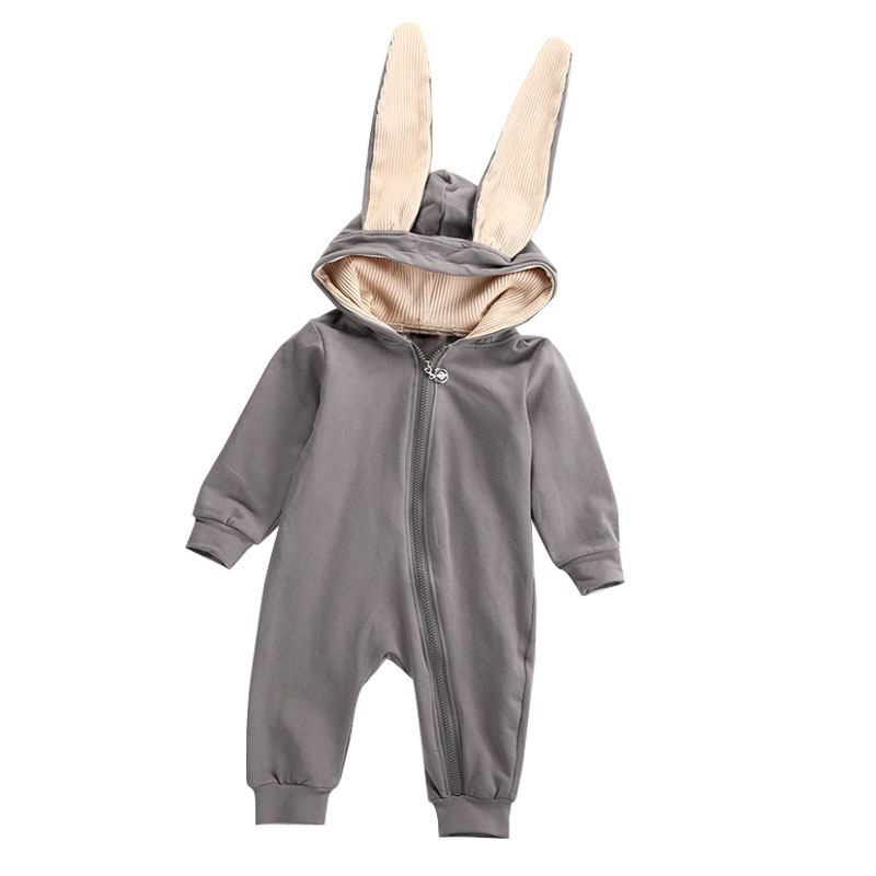Baby Toddlers Rompers Clothes Cotton Rabbit Ears Hooded Suit