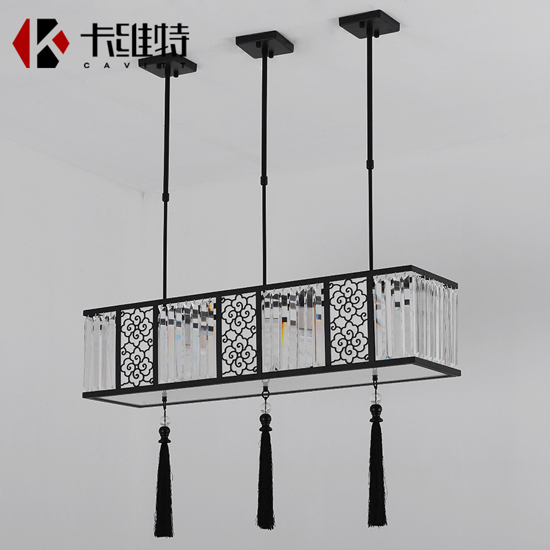 2018 new crystal Chinese Ceiling Lights rectangular dining room modern simple living room lamp three dining room CL ZS89 LU102