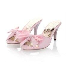 2015ฤดูร้อนสไตล์ใหม่หวานและรองเท้าส้นสูงหญิงที่มีปลาปากรองเท้าแตะเย็นหวานผีเสื้อโบว์รองเท้าแตะ