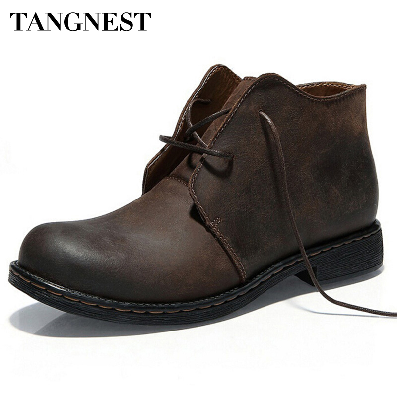 Tangnest Boots Men Autumn Winter Nubuck Leather Ankle Boots Fashion British Lace-up Cowboy Boots Casual Men Shoes  XMP355