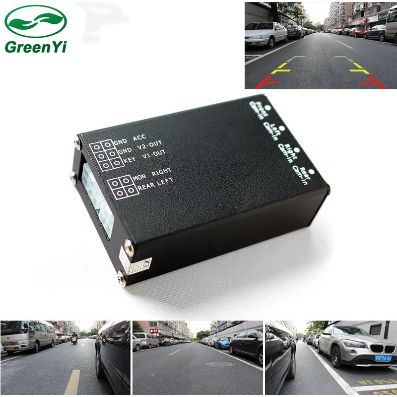 Boîtier de combinaison de commutateur de contrôle vidéo de moniteur à 4 voies pour 360 degrés gauche droite vue avant arrière gauche Support de stationnement de voiture 4 caméras