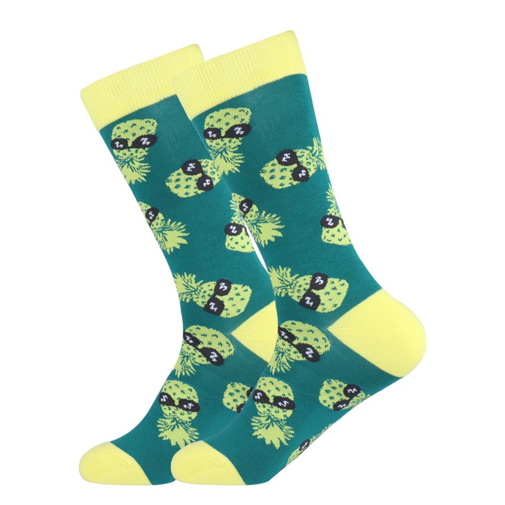 Men's Socks Novelty Men Pineapple Fruit Funny Long Socks Women Funky Cartoon Unisex Casual Sock