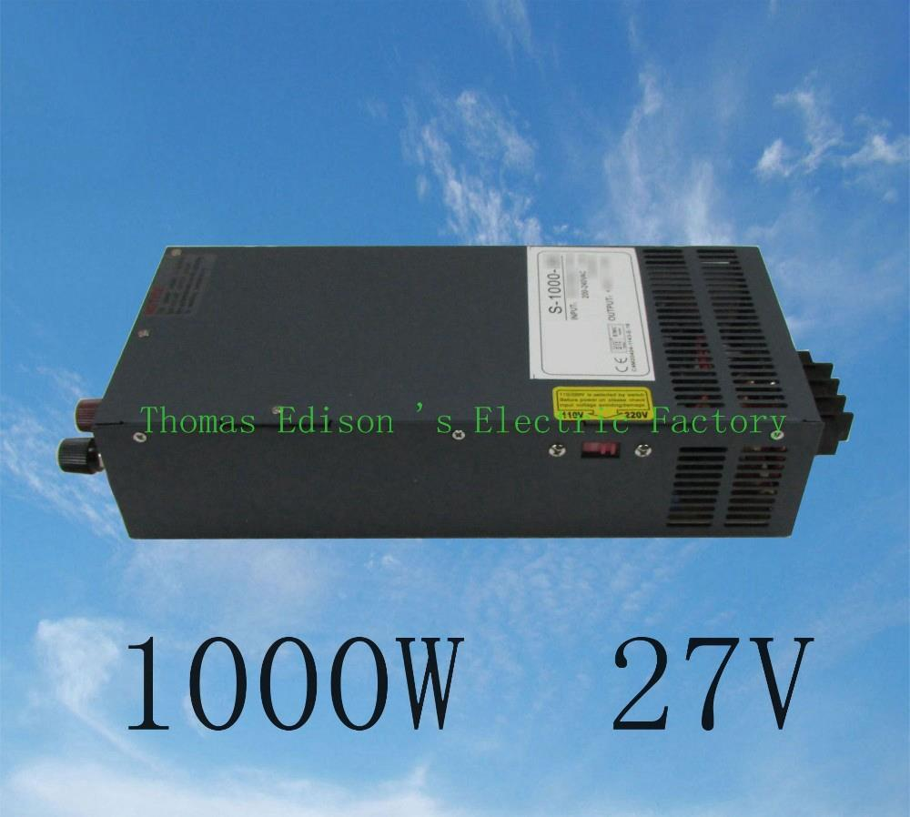 DIANQI 1000W 27V 37A power supply adjustable  Single Output Switching power supply AC to DC 110V or 220V select by switch dianqi 1000w 24v 42a power supply 220v or 110v input single output switching power supply for led strip light ac to dc